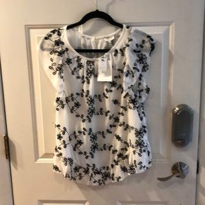 NWT JOIE CANDIDA SILK CREME AND BLACK BLOUSE